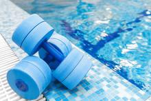 Dumbbells Equipment For Aqua Aerobics Sport Near Swimming Pool