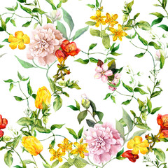 FototapetaVintage summer flowers, leaves, herbs. Repeating floral background. Watercolor