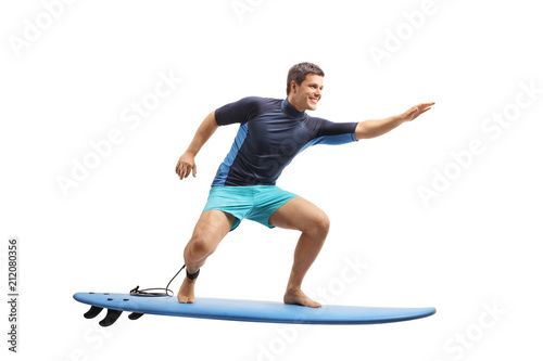 Surfer surfing on a surfboard