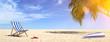 canvas print picture - Liegestuhl am Strand im Sommer im Urlaub