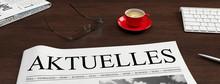 Zeitung Mit Aktuelles Schlagzeile Auf Schreibtisch