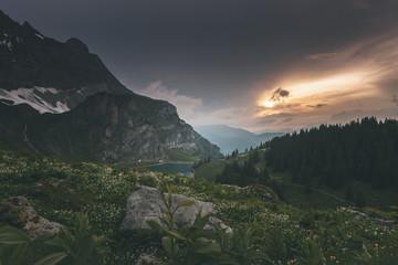 Naklejka Beautiful Lake in Switzerland Mountains