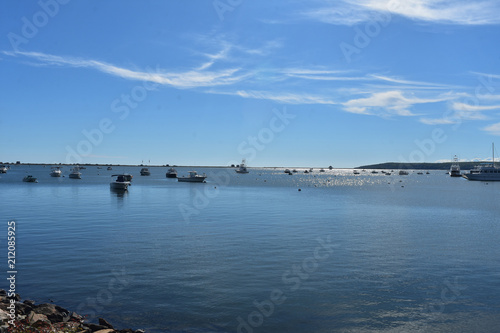 Photo  Harbor with Boats Moored in Plymouth Harbor in Massachusetts