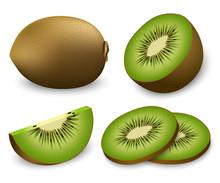 Kiwi Fruit Food Slice Icons Se...