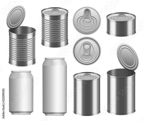Stampa su Tela Tin can food package jar mockup set