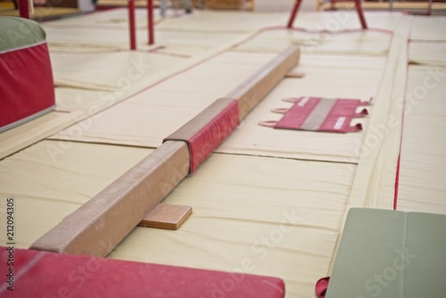 Gymnastics Hall. Gymnastic equipment.Learning Beam