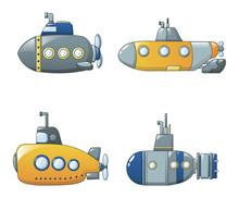 Periscope Submarine Telescope Icons Set. Cartoon Illustration Of 4 Periscope Submarine Telescope Vector Icons For Web