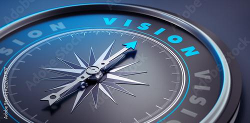 Tablou Canvas Dunkler Kompass - Konzept Vision