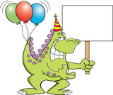 Fototapeta Dinusie - Cartoon illustration of a dinosaur with balloons on it's tail and holding a sign.