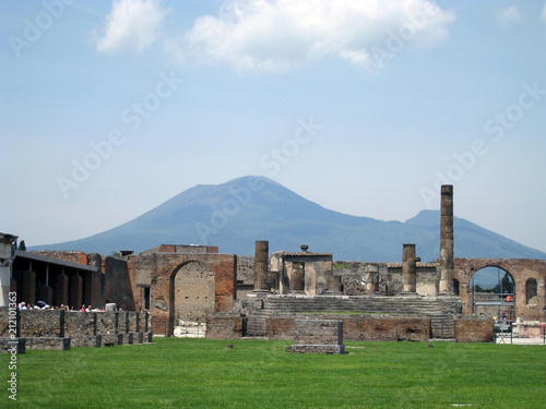 Foto op Aluminium Oude gebouw architecture, ancient, stone, old, ruins, castle, building, wall, house, ruin, europe, history, sky, italy, landscape, travel, grass, landmark, naples, pompeii, monument, home, church, historic, pompe