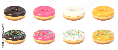 Photo  Delicious colorful donut set