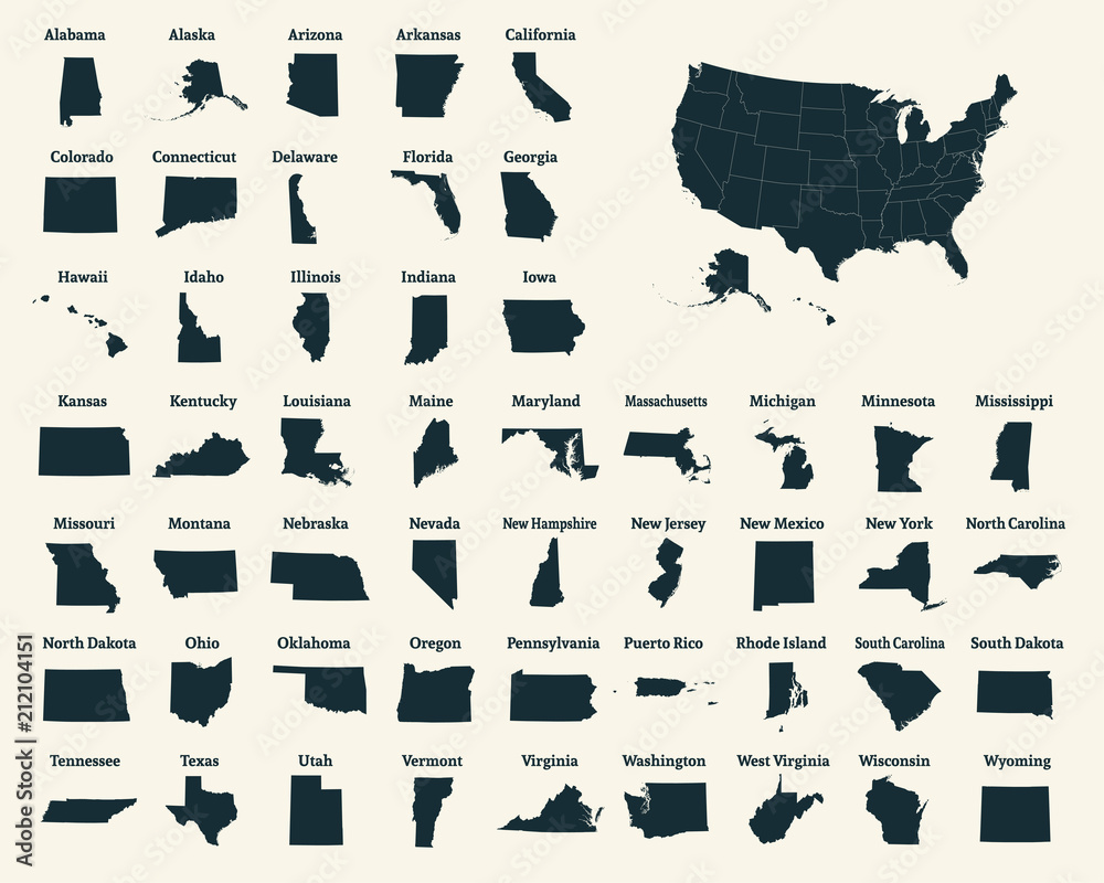 Fototapeta Outline map of the United States of America. 50 States of the USA. US map with state borders. Silhouette of the USA. Vector