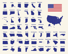Outline Map Of The United States Of America. 50 States Of The USA. US Map With State Borders. Silhouette Of The USA And Flag. Vector