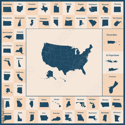 Outline map of the United States of America. 50 States of ...