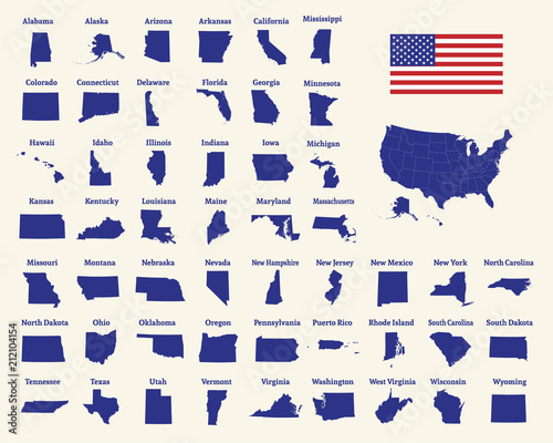 Fototapeta Outline map of the United States of America. 50 States of the USA. US map with state borders. Silhouette of the USA and flag. Vector obraz