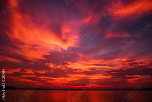 Foto op Canvas Baksteen light after sunset and the lake.