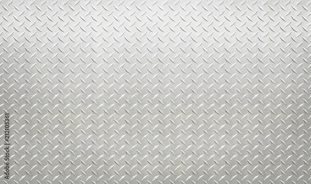 Fototapeta White silver industrial wall diamond steel pattern background