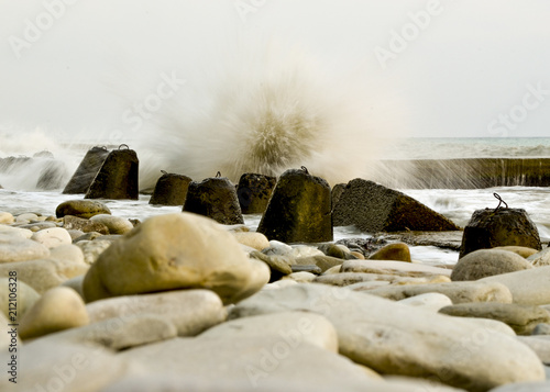 Fényképezés  Storm on the beach with a long exposure