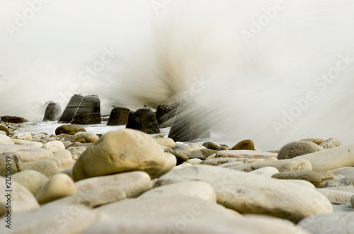 Photographie  Storm on the beach with a long exposure