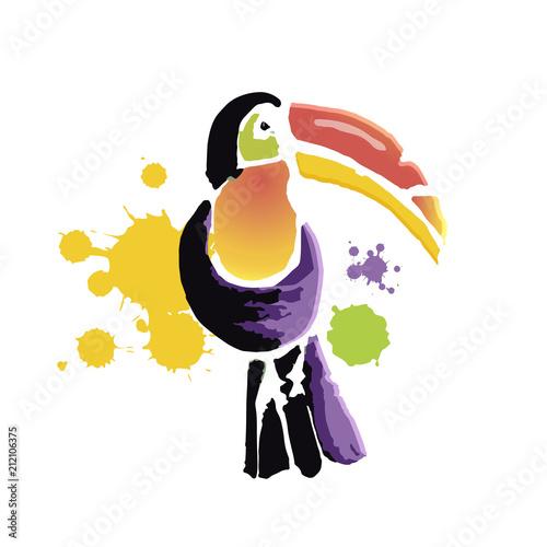 Aluminium Prints Birds, bees Tropical Toucan bird. Wild exotic animal. Vector illustration.