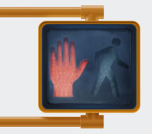 Don't  Walk Red Hand Stop Street Sign For Pedestrians