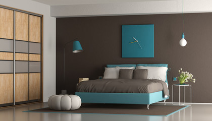 Obraz na Szkle Blue and brown modern bedroom