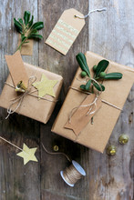 Homemade Wrapped Presents On A...