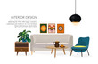 Furniture. Interior. Living room with sofa, table, lamp, pictures, mirror. sitting room with id century modern style. vector interior design illustration.