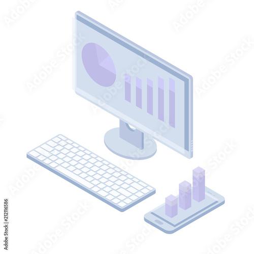 Photo  Isometric monoblock keyboard smartphone monitor market trend business graph