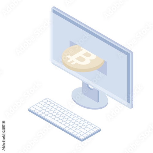 Photo  Isometric monoblock keyboard monitor cryptocurrency market trend business graph
