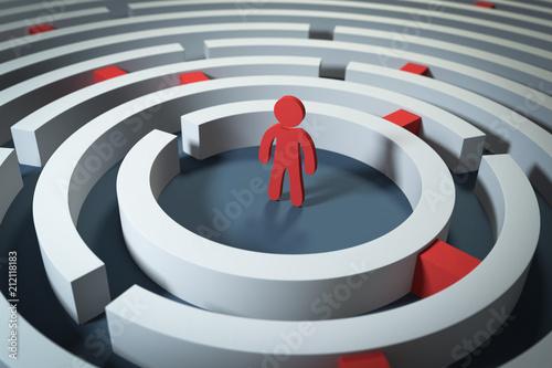 Fotografie, Obraz  3D Labyrinth Ausweg finden