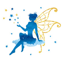 Watercolor Fairy With Stars. V...