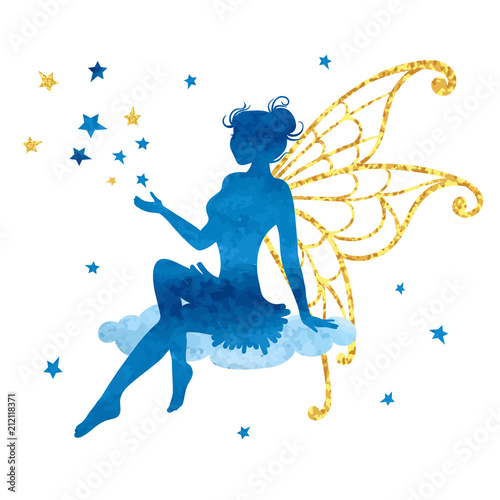 Photo Watercolor fairy with stars