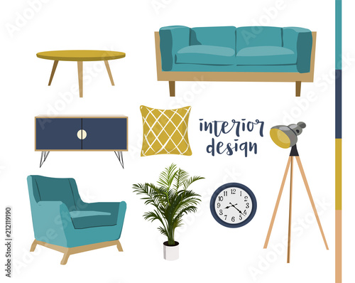 vector mid century modern furniture Wallpaper Mural