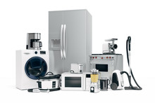 3d Set Of Home Appliances On W...