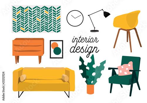 vector mid century modern furniture Canvas Print