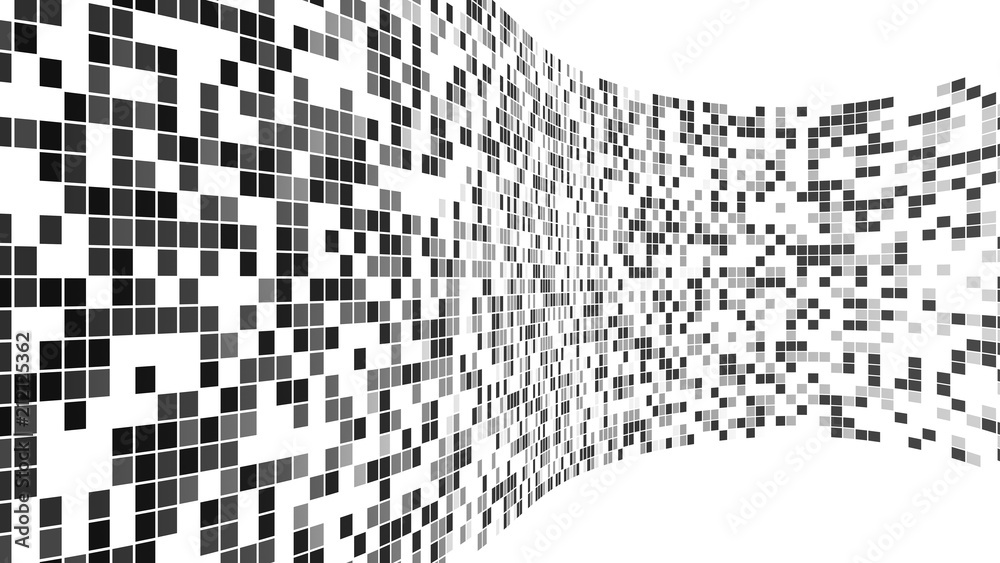 Black mosaic tiles pattern. Virtual cyberspace reality wall on white background in futuristic technology concept, 3d illustration