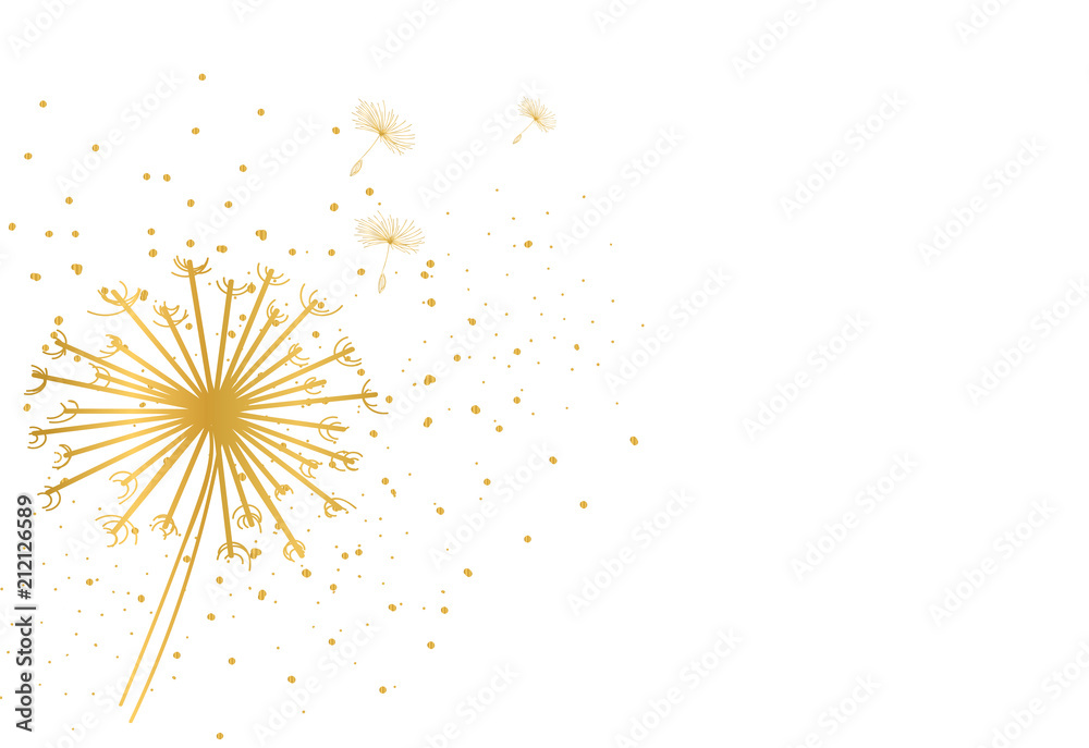 Fototapety, obrazy: dandelion golden glitter background. delicate soft background. greeting card.
