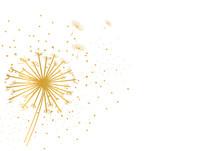 Dandelion Golden Glitter Background. Delicate Soft Background. Greeting Card.