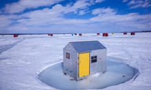 Ice Fishing Huts On Lake Simcoe.