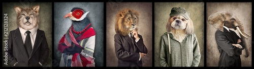 Photo Stands Retro Animals in clothes. Concept graphic in vintage style. Wolf, Bird, Lion, Dog, Elephant.