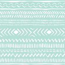 Hand Drawn White Tribal Pattern On Mint Background Vector Seamless Pattern. Fresh Abstract Geometric Drawing