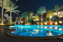 Swimming Pool At Night In One Of The Hotels Near Beach, Sharm El Sheikh, Egypt
