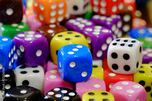 Pile of Dice for Gaming Gambling and Playing Games of Chance плакат