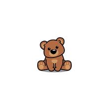 Cute Bear Sitting, Vector Illu...