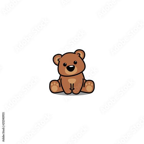 Stampa su Tela Cute bear sitting, vector illustration