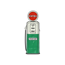 Retro Style Gas Station Pump Artwork. Vintage Hand Drawn Design In Distressed Style. Unique Gasoline Pump Illustration. Green And Red Colors Palette. Stock Vector Isolated On White Background