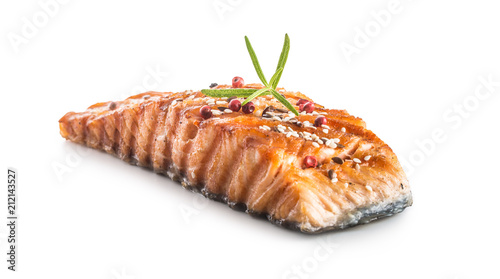 Obraz na płótnie Grilled salmon fillet with sesame herb and pepper.