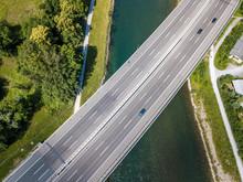 Aerial View Of Highway Bridge ...