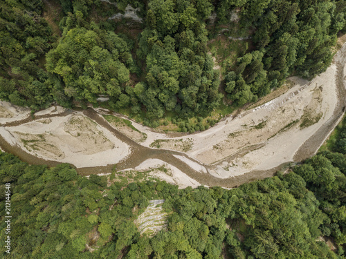 Aerial view of wild Sense river in Fribourg, Switzerland Fototapete